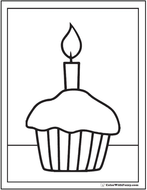 birthday cupcake coloring ; cupcake-and-candle-pdf