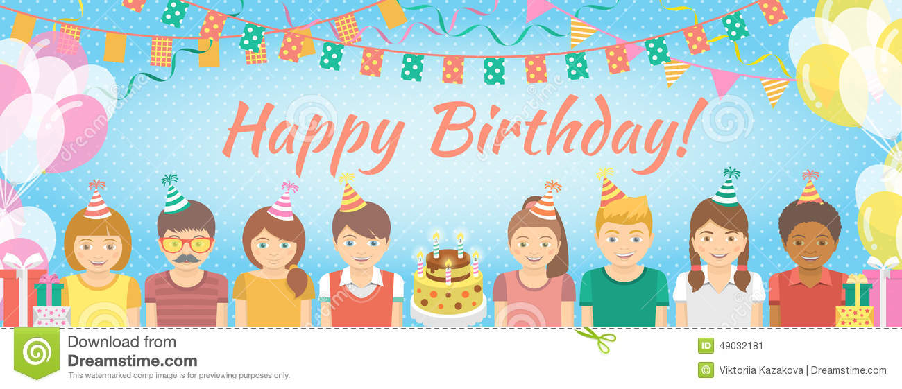 birthday decoration banner ; kids-birthday-party-background-modern-flat-colorful-vector-banner-group-festive-caps-balloons-garlands-flags-49032181