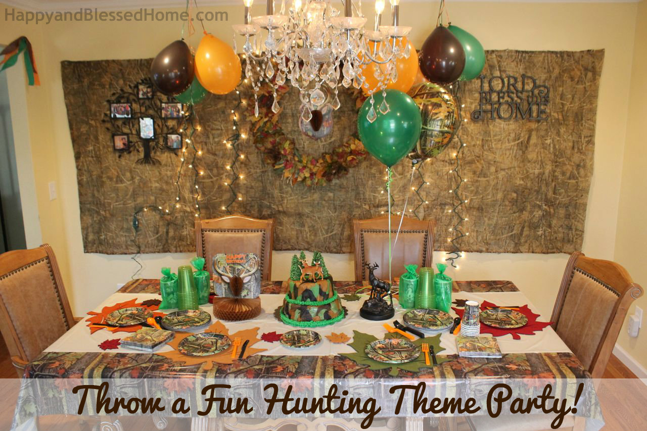 birthday decoration theme ideas ; Throw-a-Fabulous-and-Fun-Hunting-Theme-Party-from-HappyandBlessedHome