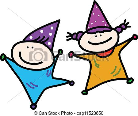 birthday drawings for kids ; hand-drawn-cartoon-kids-playing-birthday-clipart-vector_csp11523850