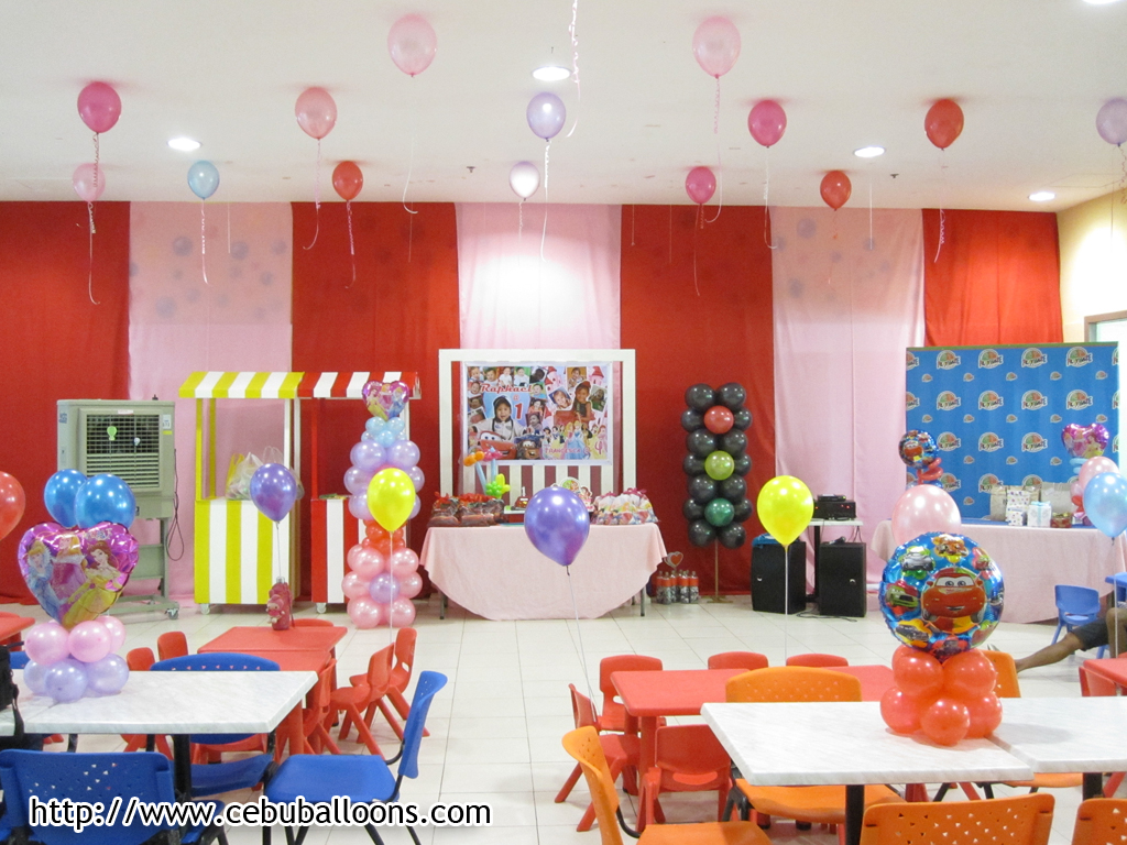 birthday event themes ; Final-Setup-of-Princess-and-Cars-Theme-Birthday-Party