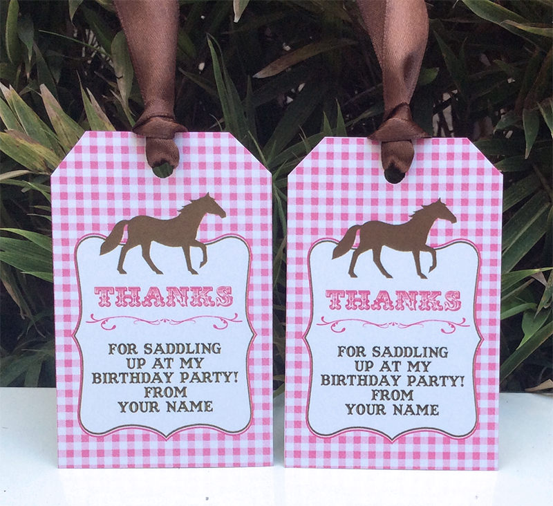 birthday favor tags wording ; Pony-Horse-Party-Thank-You-Tag