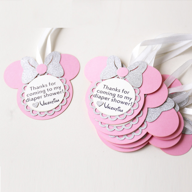 birthday favour tags ; Personalized-birthday-favour-tags-custom-Minnie-party-gift-tags-laser-cut-baby-shower-thank-you-tags