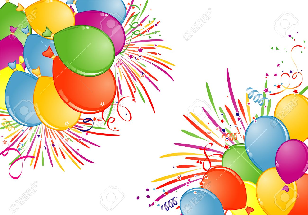 birthday fireworks clipart ; 5560656-birthday-frame-with-balloon-fireworks-and-streamer-element-for-design-vector-illustration