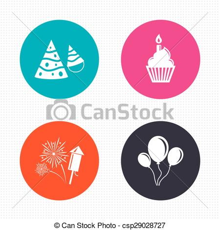 birthday fireworks clipart ; birthday-party-cake-balloon-hat-and-illustration_csp29028727