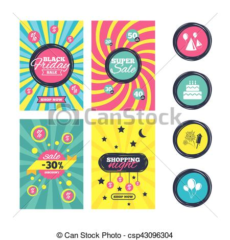 birthday fireworks clipart ; birthday-party-cake-balloon-hat-and-vector-clipart_csp43096304