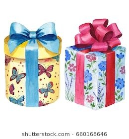 birthday gift box clipart ; watercolor-birthday-gift-box-illustration-260nw-660168646