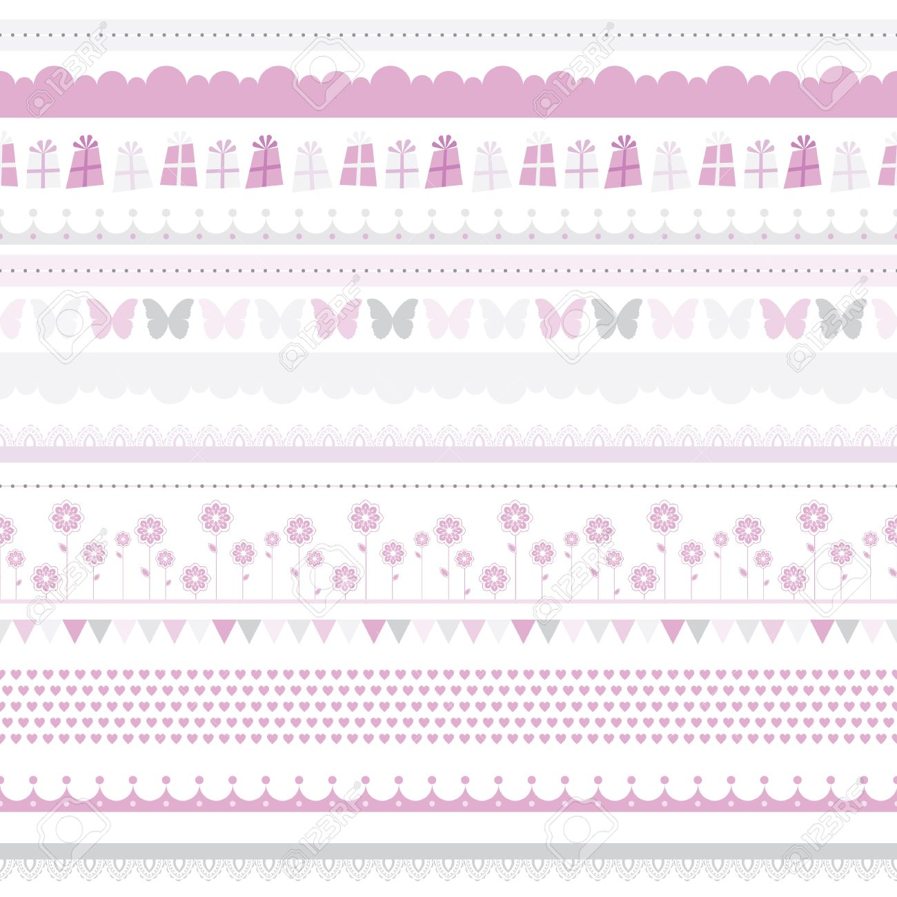 birthday girl border ; 16187687-cute-baby-seamless-border-child-birthday-pattern-girl-background-scrapbooking-kids-card-baby-party-c