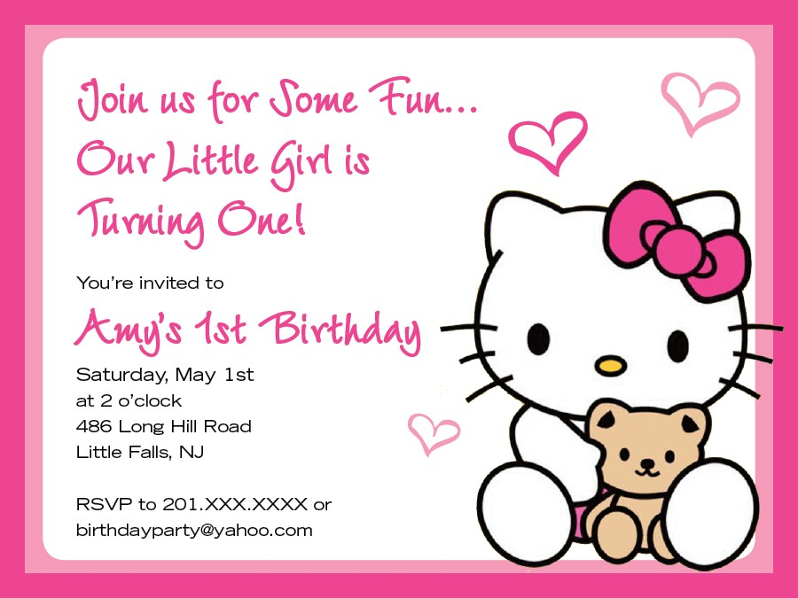birthday girl border ; party-invites-1st-birthday-party-invitation-template-with-pink-text-and-border-and-hello-kitty-decals-for-girl