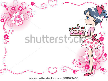 birthday girl border ; stock-vector-girl-holding-a-birthday-cake-with-border-300673466