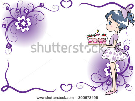 birthday girl border ; stock-vector-girl-holding-a-birthday-cake-with-border-300673496