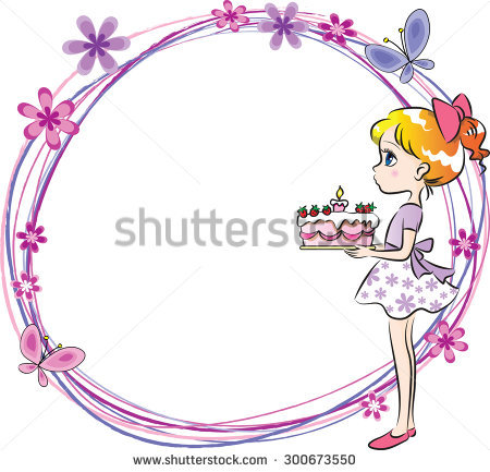 birthday girl border ; stock-vector-girl-holding-a-birthday-cake-with-border-300673550