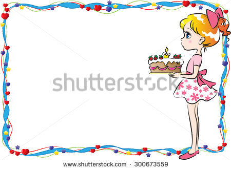 birthday girl border ; stock-vector-girl-holding-a-birthday-cake-with-border-300673559