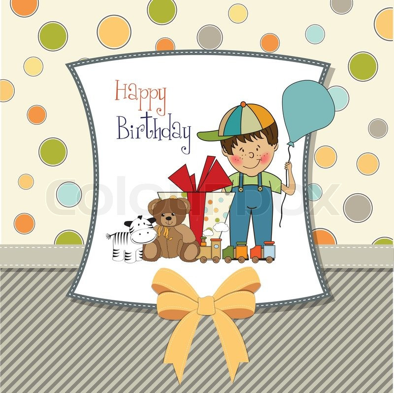 birthday greeting cards for baby boy ; 3985892-birthday-greeting-card-with-little-boy-and-presents