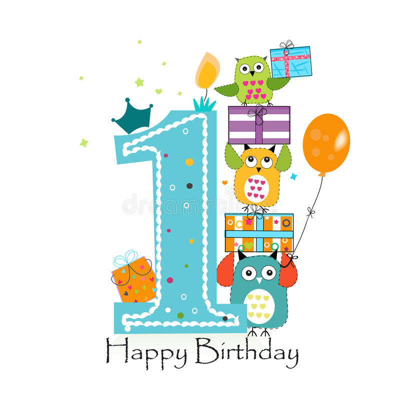 birthday greeting cards for baby boy ; happy-first-birthday-owls-gift-box-baby-boy-birthday-greeting-card-vector-illustration-78009836