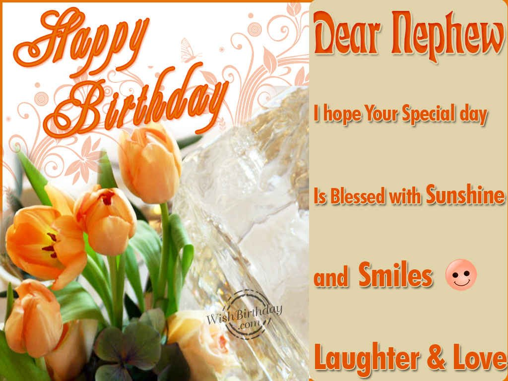 birthday greeting cards for nephew ; happy-birthday-nephew-orange-font-colors-with-flowers-image-decoration-graphic-layout-simple-natural-happy-birthday-cards-for-nephew