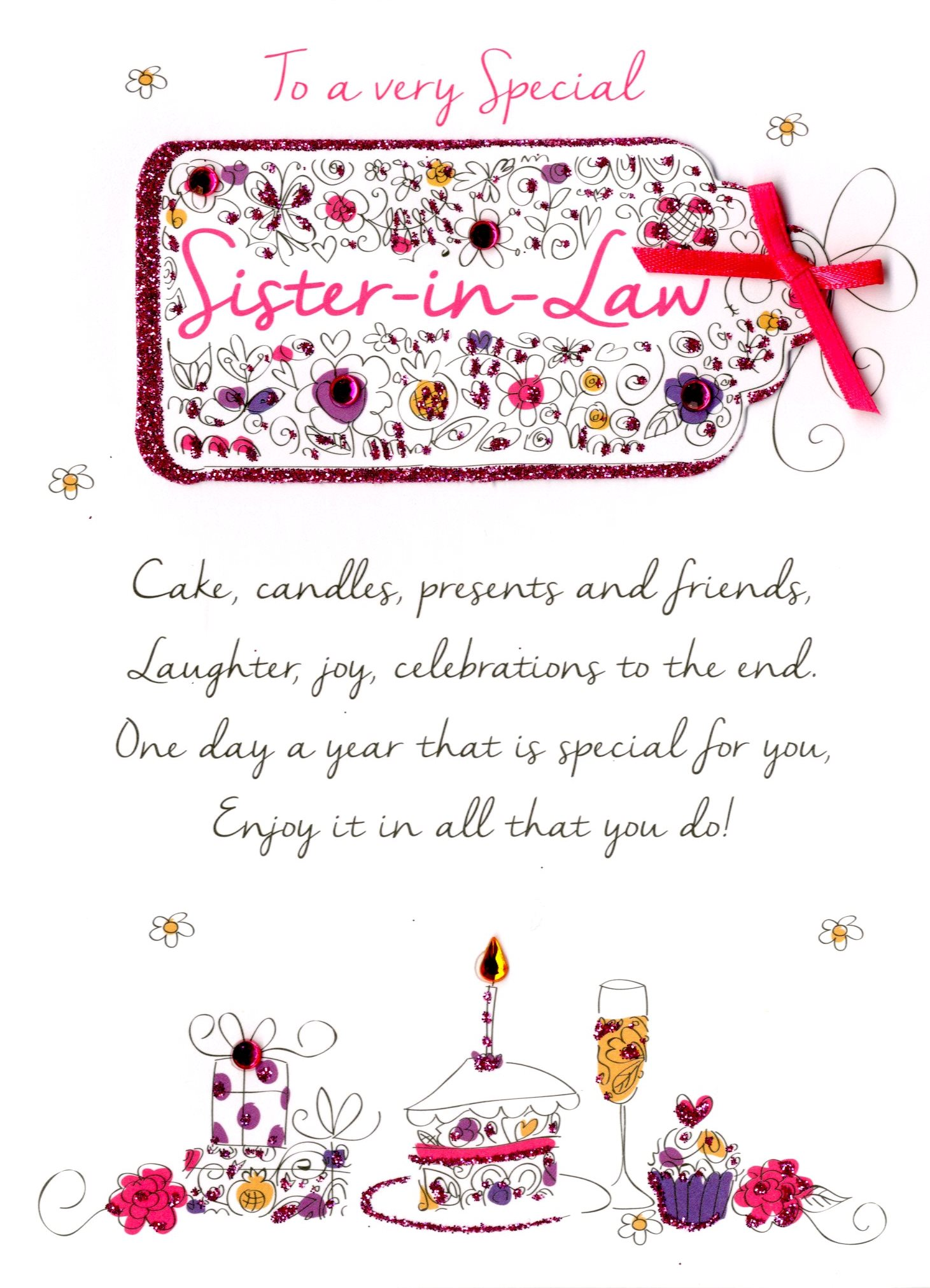 birthday greeting cards for sister in law ; JT059