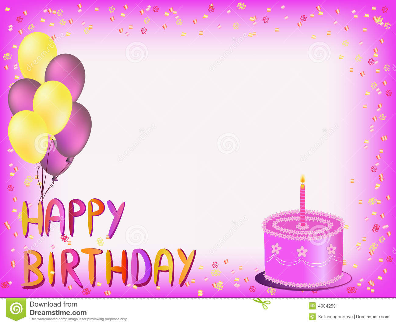 birthday greeting e cards ; happy-birthday-greeting-card-colorful-words-balloons-cake-illustration-49842591
