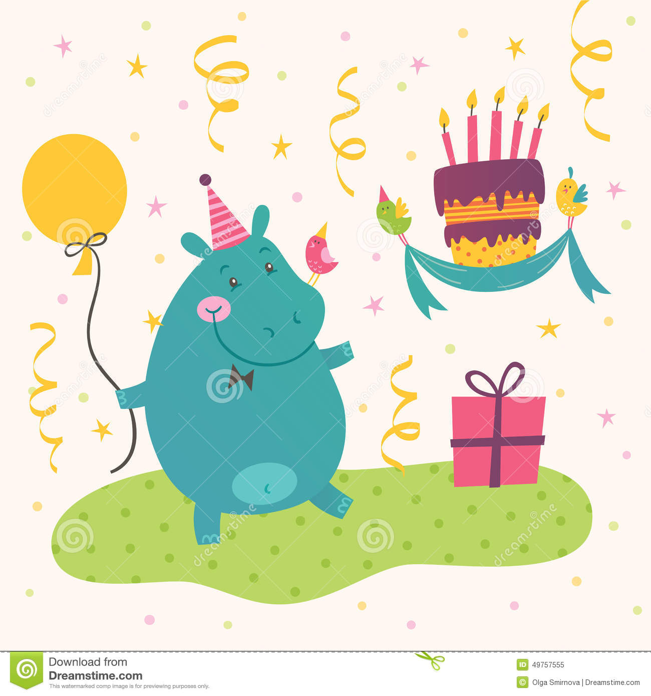 birthday hippo picture ; birthday-greeting-card-cute-hippo-vector-cake-49757555