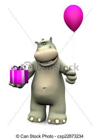 birthday hippo picture ; cartoon-hippo-holding-birthday-gift-and-drawings_csp22873234