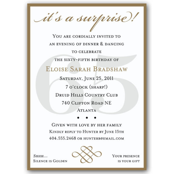 birthday invitation content ; 65th-birthday-invitation-wording-classic-65th-birthday-gold-surprise-invitations-paperstyle