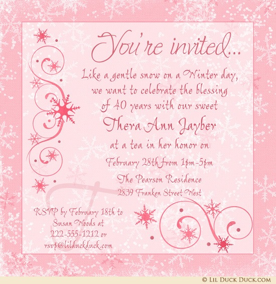 birthday invitation content ; Chic-Winter-adult-tea-birthday-invitation-pink-40th