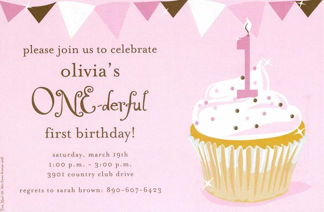 birthday invitation content ; one-derful-cupcake-girl-birthday