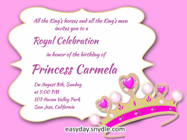 birthday invitation content ; princess-birthday-invitation-wording