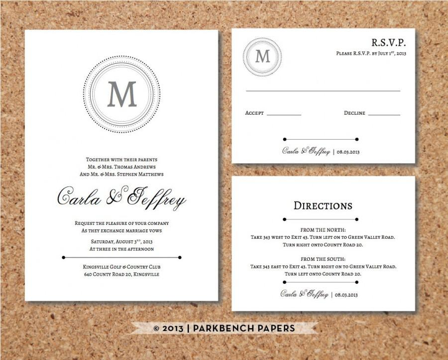 birthday invitation inserts templates ; editable-wedding-invitation-rsvp-card-and-insert-card-classic-monogram-style-word-template-instant-download-printable