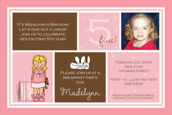 Birthday Invitation Message For 6 Year Old 5th Wording