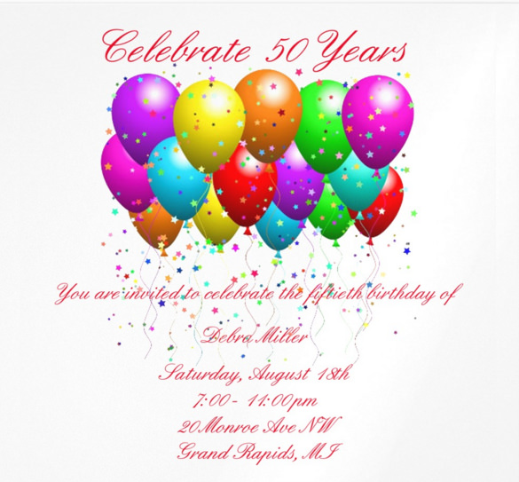 birthday invitation with photo free ; 50th-Birthday-Balloons-Invitations