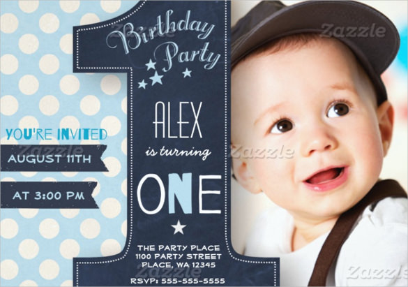 birthday invitation with photo free ; First-Birthday-Party-Invitation-Template-Free-Download