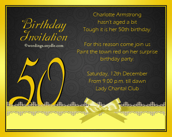 Birthday Invitation Wording For Mother 50th Party Cards