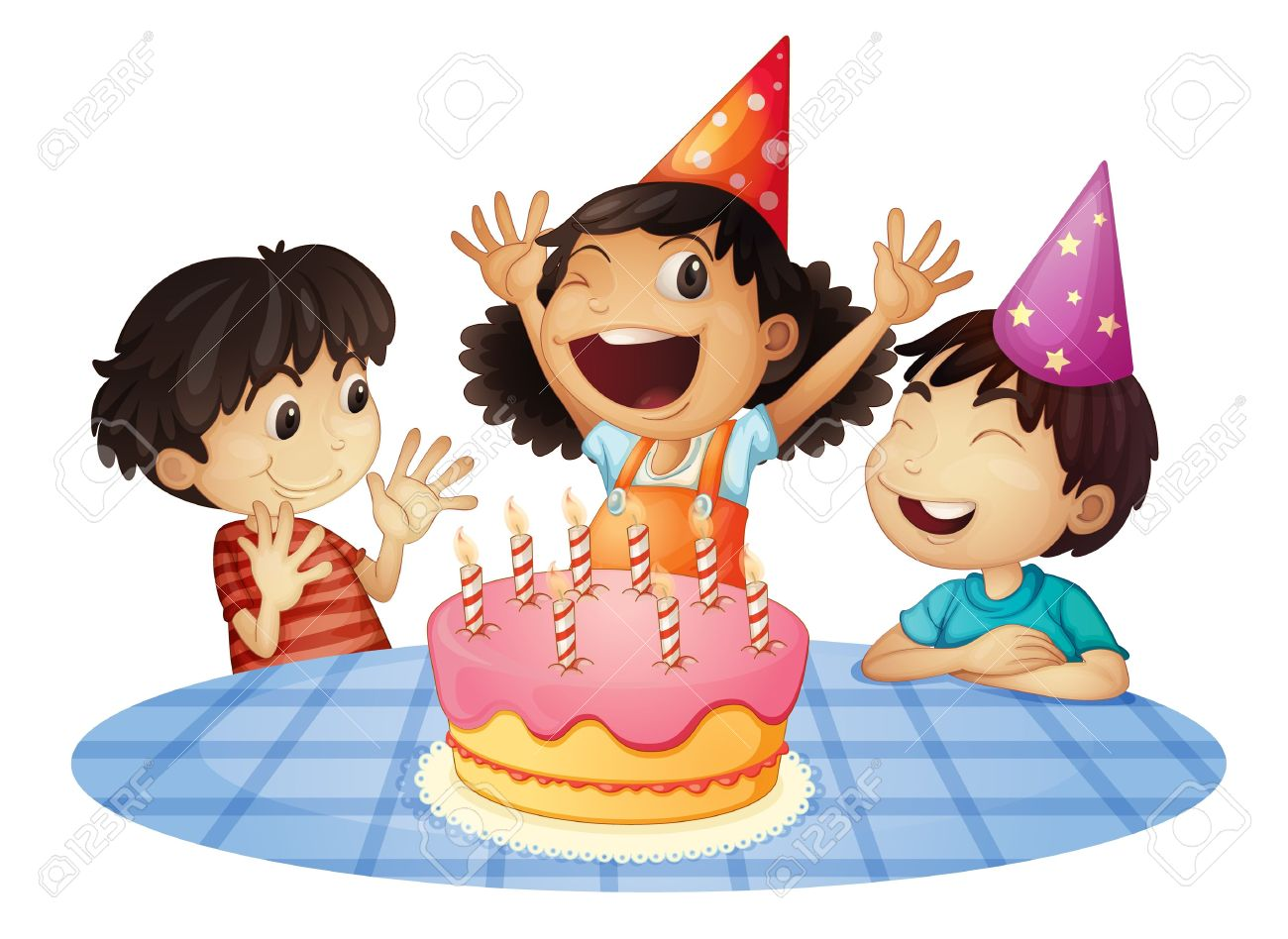birthday kids clipart ; 13376891-young-kids-at-a-birthday-party