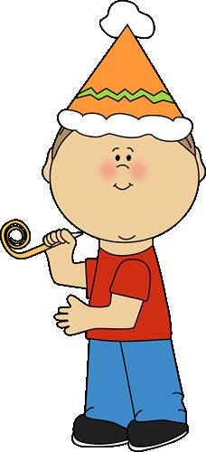 birthday kids clipart ; kid-with-birthday-party-whistle