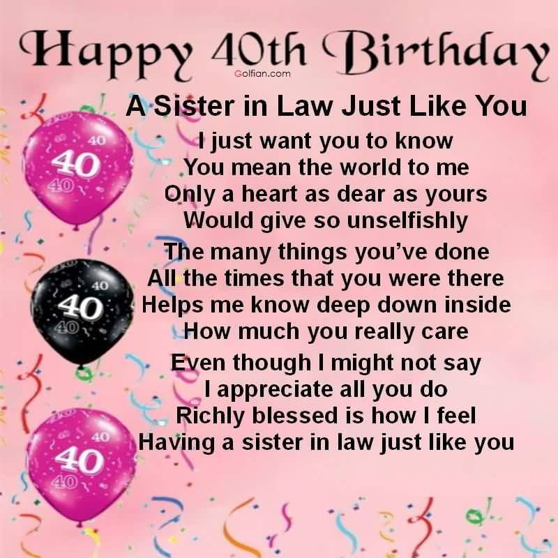 birthday message quotes for sister ; Best-Quotes-40th-Birthday-Wishes-For-Sister-In-Law-Greetings