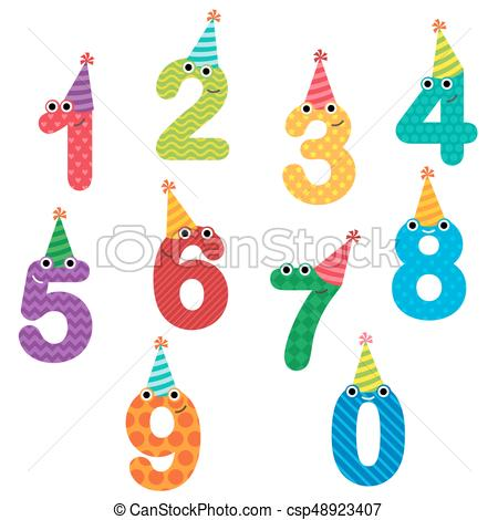 birthday numbers clipart ; birthday-anniversary-numbers-with-hats-vector-clipart_csp48923407