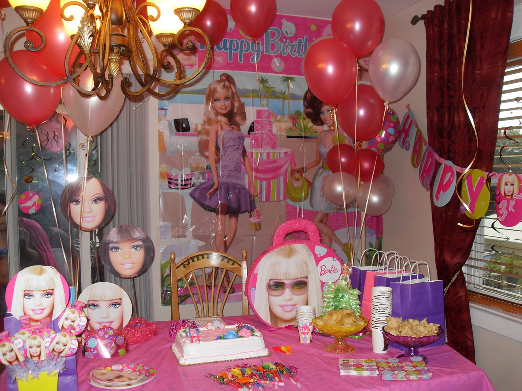 birthday party background themes ; Barbie-Girl-Party