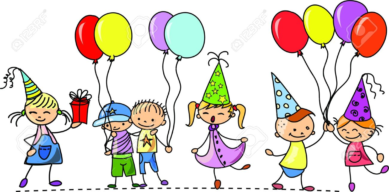 birthday party balloons clipart ; 11498995-funny-children-s-birthday-party