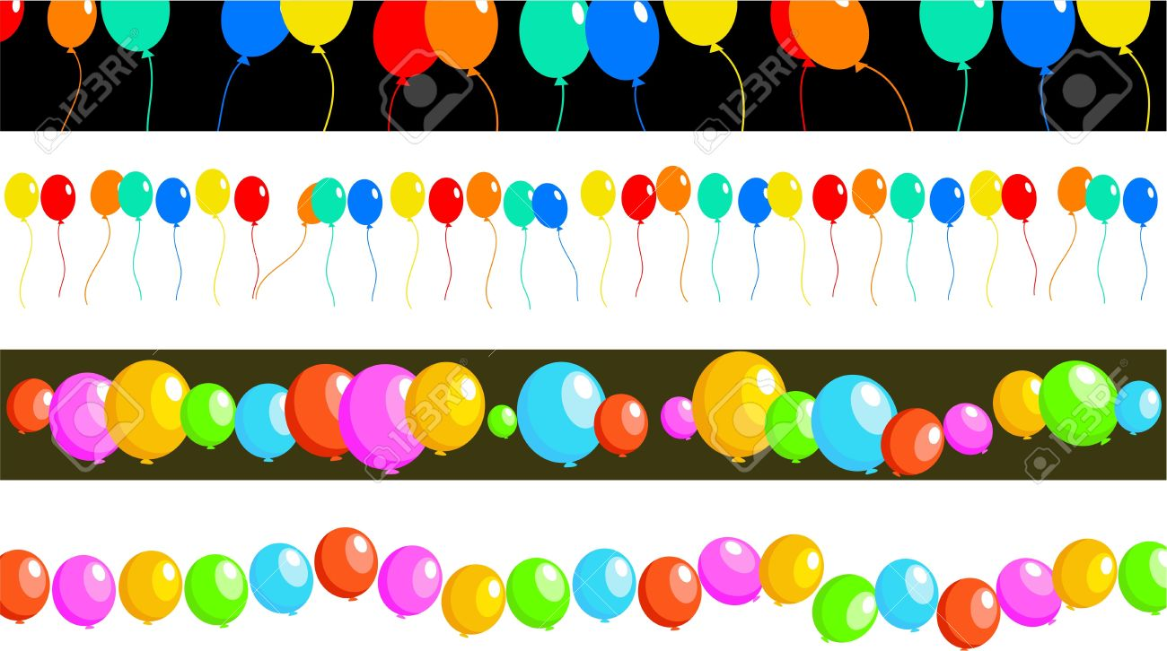 birthday party banner design ; 3408236-set-of-four-birthday-party-balloon-page-border-and-banner-designs