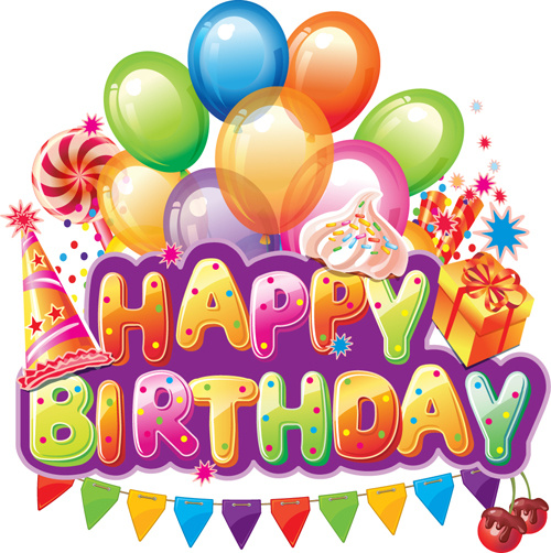 birthday party banner design ; happy_birthday_elements_cover_balloons_and_cake_vector_522049