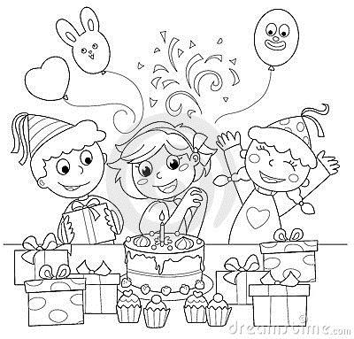 birthday party coloring pictures ; 19728592