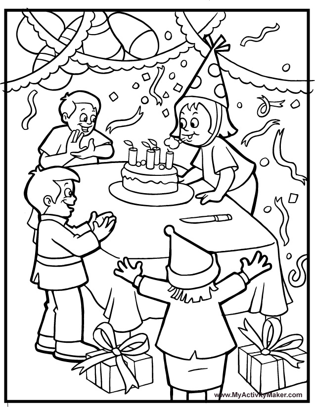 birthday party coloring pictures ; birthday-party-coloring-page-3