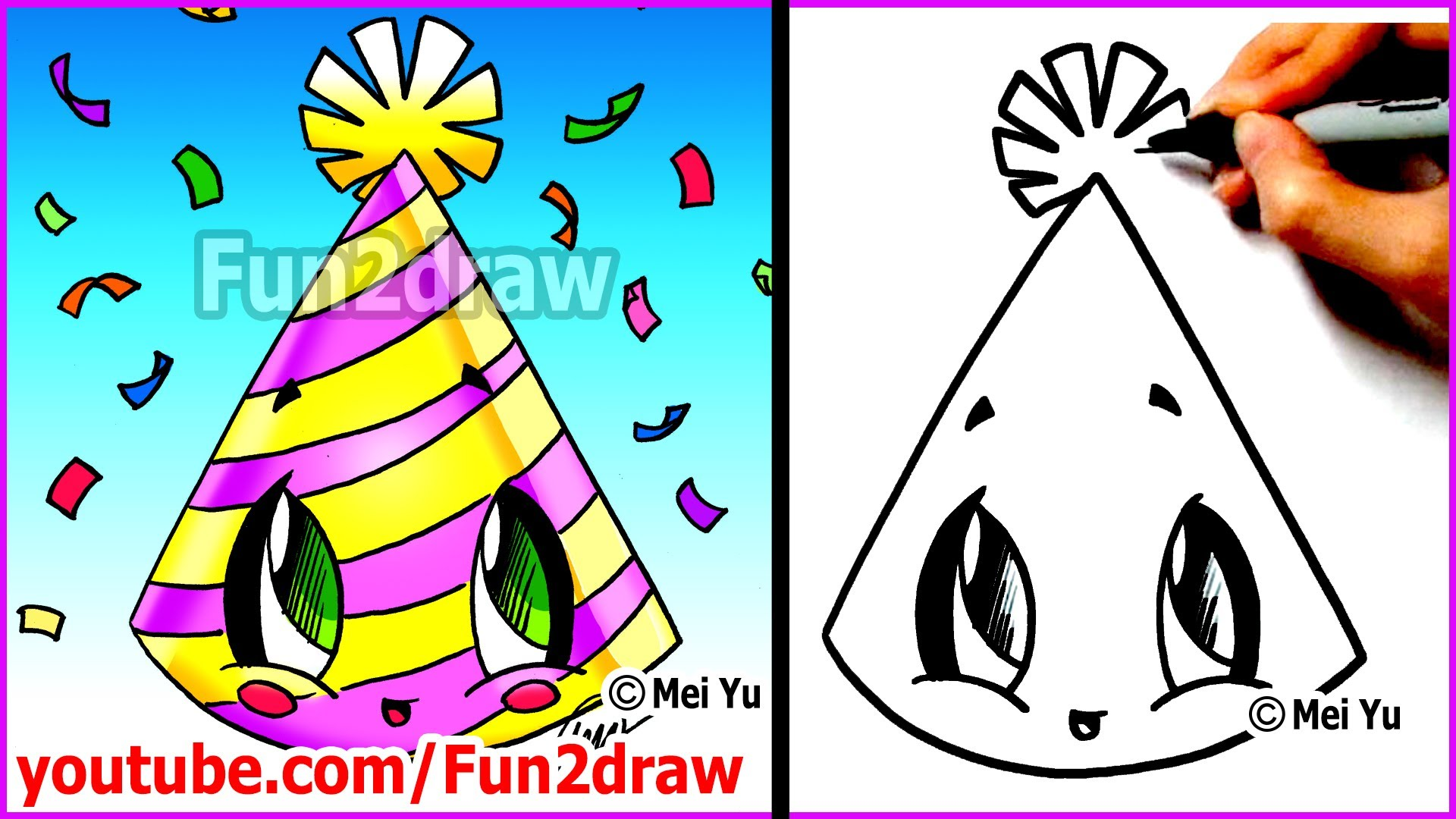 birthday party drawing easy ; birthday-hat-drawing-56