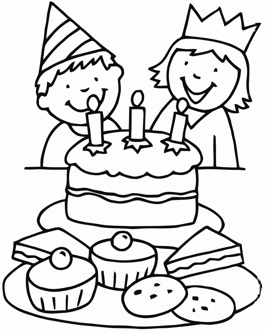 birthday party drawing easy ; easy-drawing-of-birthday-party-birthday-party-scene-for-drawing-birthday-coloring-pages-coloring-for-kids-coloriage-anniversaire-3