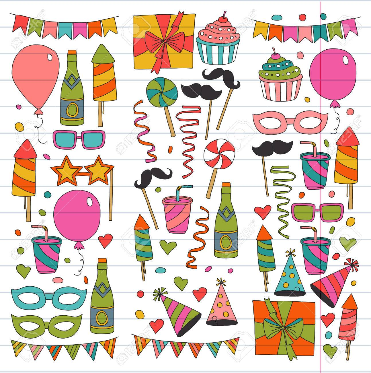 birthday party drawing for kids ; 85697030-kids-party-children-drawing-birthday-party-with-balloons-mask-gifts-food-cupcakes-doodle-set-with-ve