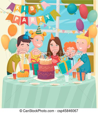 birthday party drawing for kids ; b-day-party-children-composition-clip-art-vector_csp45846067