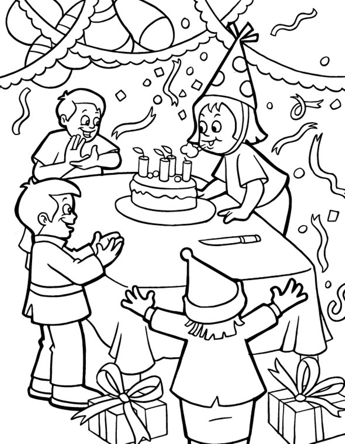 birthday party drawing for kids ; birthday-party-coloring-page-12