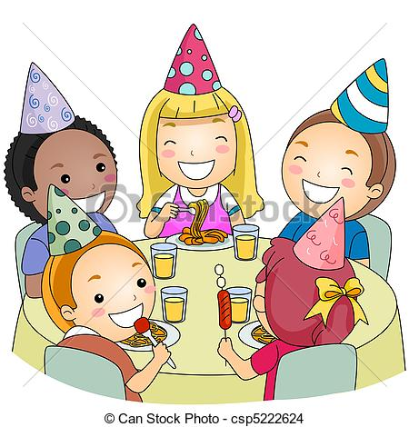 birthday party drawing for kids ; birthday-party-drawing_csp5222624