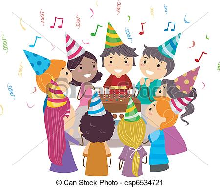 birthday party drawing for kids ; birthday-party-vector-clip-art_csp6534721